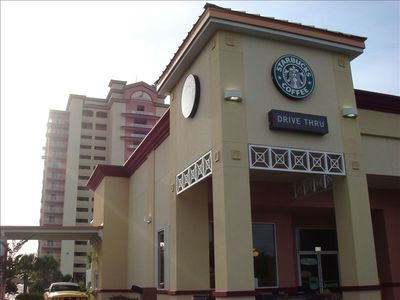 Starbucks in front of Tower 1 - our condo tower
