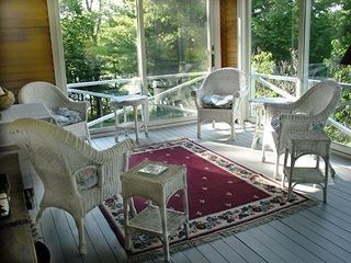 Brunswick house photo - Wonderful enclosed porch - water & woodland views - enjoy dining here too