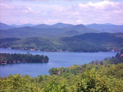 View from the deck: Lake Burton and Blue Ridge Mountains