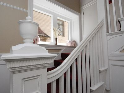 Stairwell leading to #3 with window seat