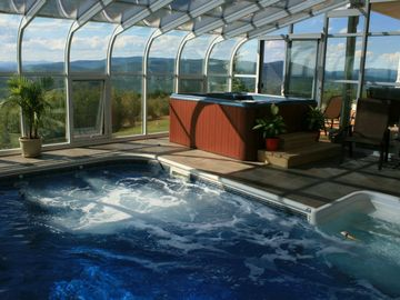 South Paris house rental - Indoor heated pool with swim jets and spa.