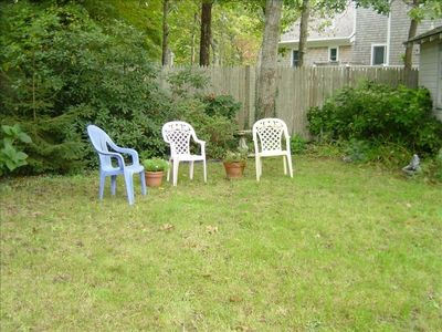 The side yard with chairs provided.
