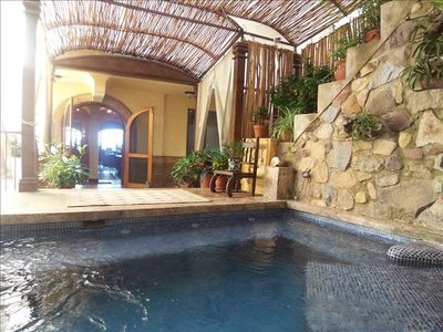 Exclusive to Villa Flores - Private plunge pool with sunken chaise lounges.