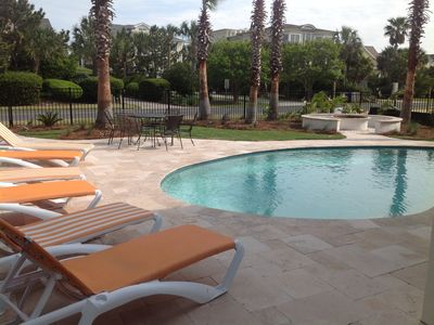 Resort like private pool backs to ocean blvd and is 90 second walk to the beach