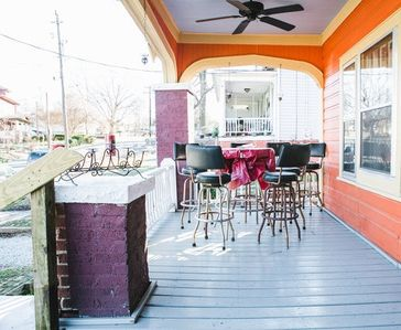 Have a meal or drink and enjoy the ceiling fan on the large porch