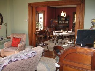 View Into Dining Room from the Living Room, Showing Some Antique Furniture
