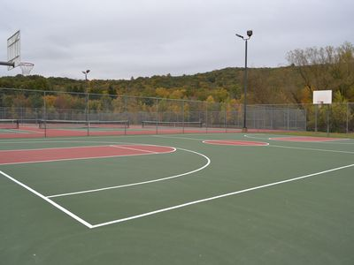Baskeball and tennis courts