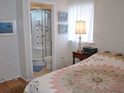 Ocean Pines cottage rental - Master Bedroom with Master Bath and HDTV and BluRay DVD