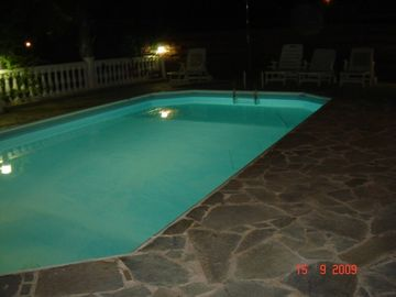 Villa Corelia's pool at night