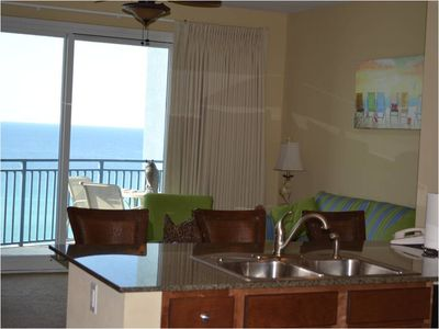 Beautiful view of the gulf and beach from the kitchen and living room!