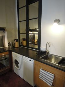 fully equipped kitchen (dishwasher, washing machine , oven and microwave)