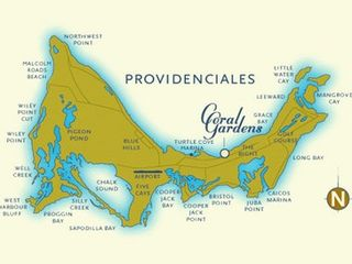Providenciales - Provo condo photo - Map of Providenciales, showing Coral Gardens location