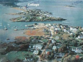 Biddeford cottage photo - Aerial view of the cottage on Hill's Beach.Walk to Island at low tide!