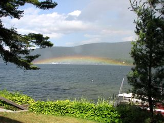 Lake George house photo - Rainbow from Log Cabin