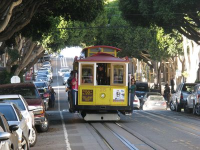 Hyde street cable car is one and a half blocks away