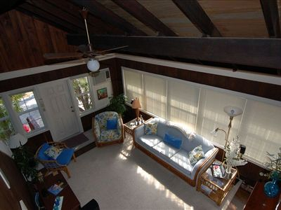 Living Room from above - ceiling is two stories high at peak