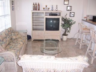 Port Isabel cottage photo - Living room with beautiful new marble flooring