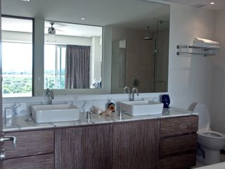 Nuevo Vallarta condo photo - Master bath. His and hers sinks, separate shower and jetted tub too!