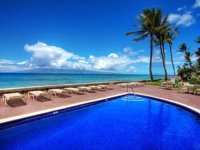 Dipping pool, some of the lounge chairs and your view of the ocean & Molokai