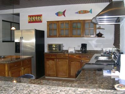 Stainless steel kitchen appliances.