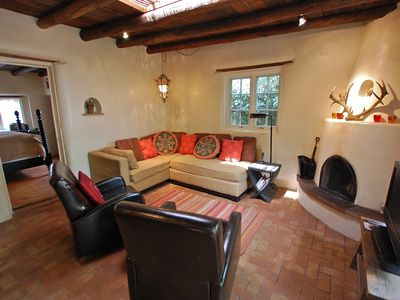 Santa Fe house rental - .Another View of the Living Room with Kiva Fireplace