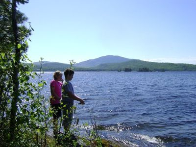 North Island, Moosehead Lake, fishing for salmon off the front ledge.