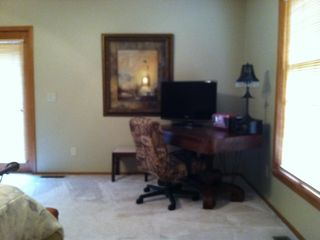 Desk area with TV and DVD player in Master Suite