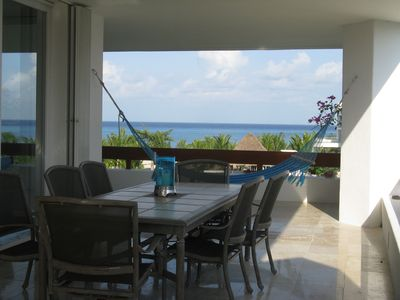 Dine inside or out and lounge in one of the 5 hammocks situated around the home
