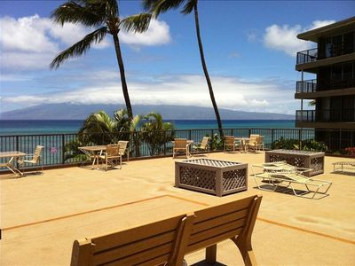 Honokowai condo rental - This deck is located directly on the ocean with fabulous views of Molokai.