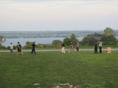 Visiting Guests from South Korea playing Football overlooking Seneca Lake