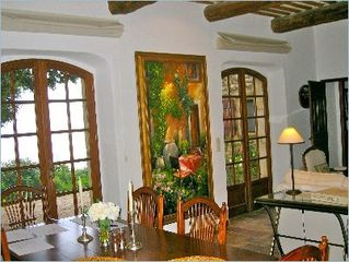 Gordes house photo - Dining with French doors to garden and view.