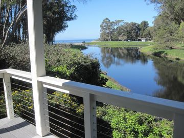 Santa Cruz cottage rental - Looking at the Ocean and Lagoon from the back porch. Steps to the Beach.