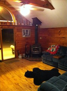 Front sitting area with Wood Stove