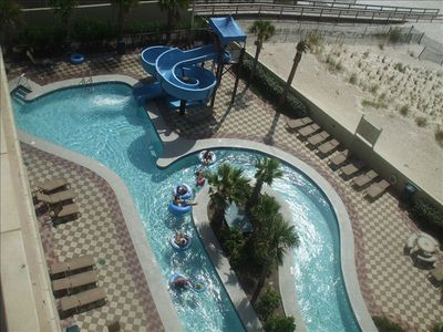 View of Lazy River and Water Slide from Balcony