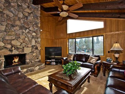 Tahoe Keys house rental - Just one of the spacious living areas, with firepalce and big screen TV