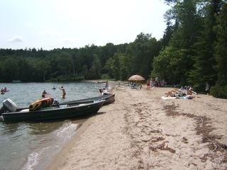 Lake Willoughby cottage photo - Family and Friends Gathering on Beach
