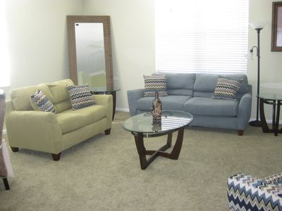 "LR: SOFA-BED LOVE-SEAT ACCENT CHAIR 42"" FLAT SCREEN TV"