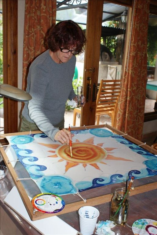 A silk painting class student at work on a scarf. www.rabkindesign.com