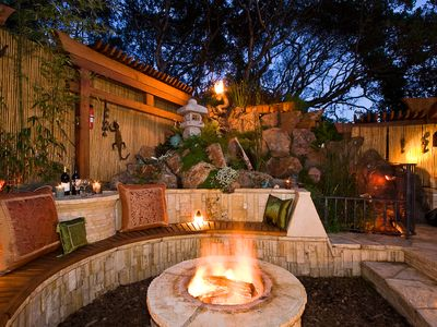 The sunken fire pit is superb for entertaining friends and family.