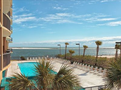 Orange Beach condo rental - View of pool and pass/gulf looking off balcony
