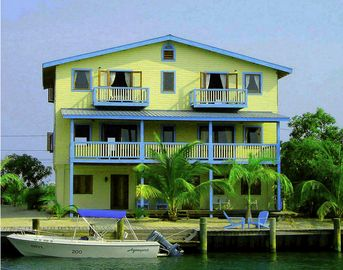 Placencia house rental - Decked Out House offers plenty of decks and a 75 foot wide dock.