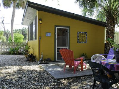 Welcome to Peppertree Studio. Enjoy a meal out back or lounge in the shade.
