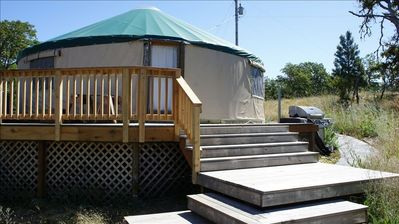 Yurt exterior-decks, barbeque