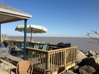 Oak Harbor cottage photo - Grill sits up on deck! Enjoy fabulous lake views while grilling out!