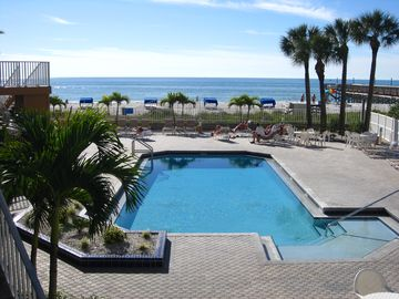 Beach Palms - Heated Pool with View of Gulf in Background