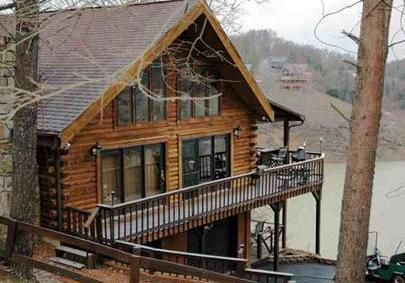 Tennessee holiday cabin lake front cabin great fishing 20 min for Fishing cabins in tennessee