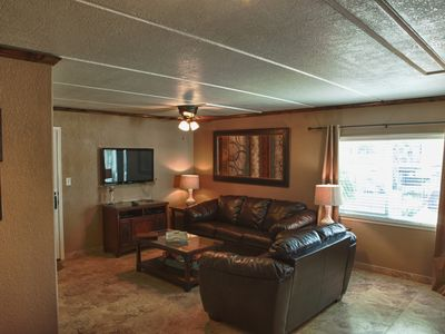 "South Padre Island condo rental - The living room has a 42"" HDTV and Blu Ray"