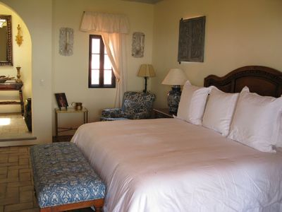 Spacious mirador master bedroom suite with private bath and dressing area