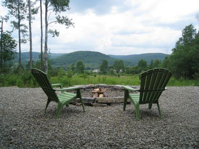 View overlooking the mountains and fire pit