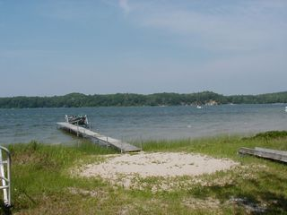 Frankfort cottage photo - Waterfront View Dock and Sand looking West